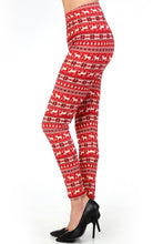 "side view of full- length one size- Women's 0-14 and plus size- women's 14-20 mix print fair isle christmas print leggings are so soft, stretchy, lightweight, and have a 1"" inch waistband. smooth fabric, 92% Nylon 8% spandex"