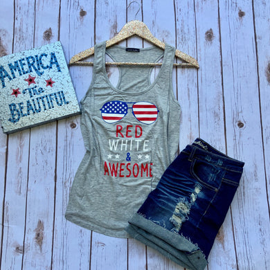 grey gray tank with american flag sunglass and red white & and awesome