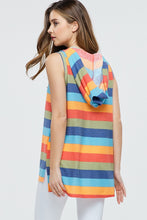 back view of multi color striped sleeveless hoodie with lace up tie neck. light weight soft material