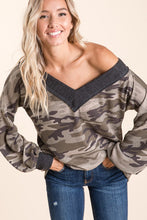 slouchy V neck camo waffle fabric sweater with thick grey gray neck line and banded wrist sleeve contrast. good for on or off the shoulder
