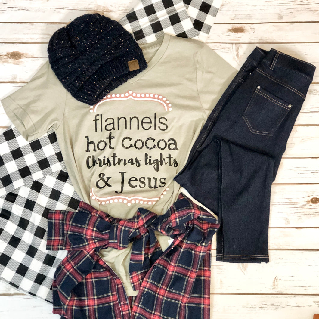 Flannel Hot Cocoa Christmas Lights & Jesus Tee