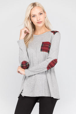 grey gray long sleeve with red plaid accent pockets, shoulders, and elbow patches
