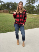 Buffalo Plaid Button Up, Tie Front Sweater