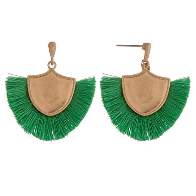 Kelly Green & Gold Fringe Tassel Earrings