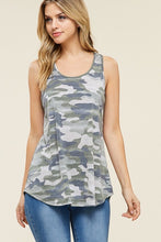 olive green camo tank top soft fabric with flattering cut