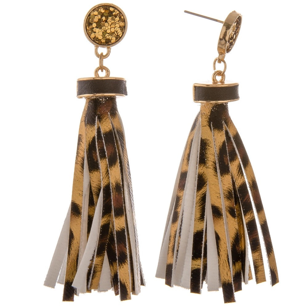 Faux Leather Leopard Print Tassel Earrings with Glitter Stud
