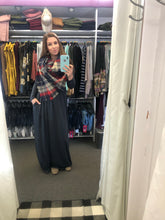 solid grey gray long sleeve long maxi dress with cinched small of waist and pockets. stretchy, comfortable, soft fabric