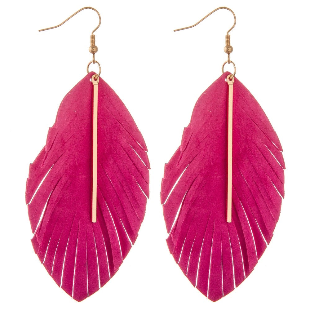 Hot Pinky Faux Suede Feather Gold Bar Earrings