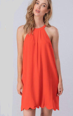 burnt orange high neeck and scalloped hem above the knee short dress