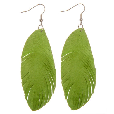 Green Faux Suede Feather Earrings