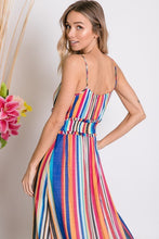 zoomed in back view of mulit-color stripe serape maxi with adjustable spaghetti strapes, smocked waist, and ruffle hem