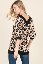 back view of leopard print sweater with thick black trim. V neck and V back with a slouchy and off the shoulder or regular neck.
