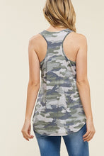 back view of olive green camo tank top soft fabric with flattering cut