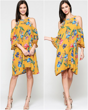 Mustard Tropical Cold Shoulder Dress