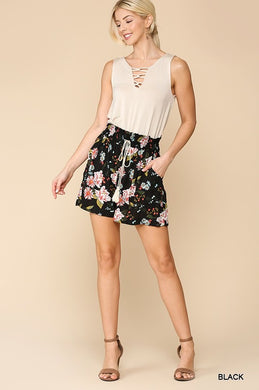 Black Smocked Waist Tassel Floral Shorts