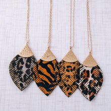 Long genuine leather leopard print pendant necklace