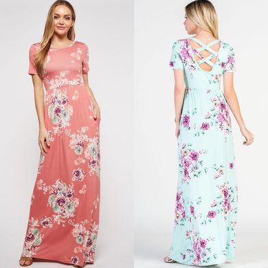Mint or Coral Cross Back Floral Maxi