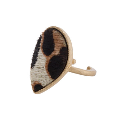 Faux Fur Leopard Teardrop Ring