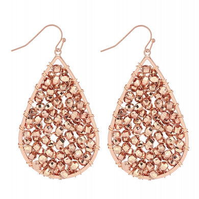 Rose Gold Beaded Sparkle Teardrop Earrings