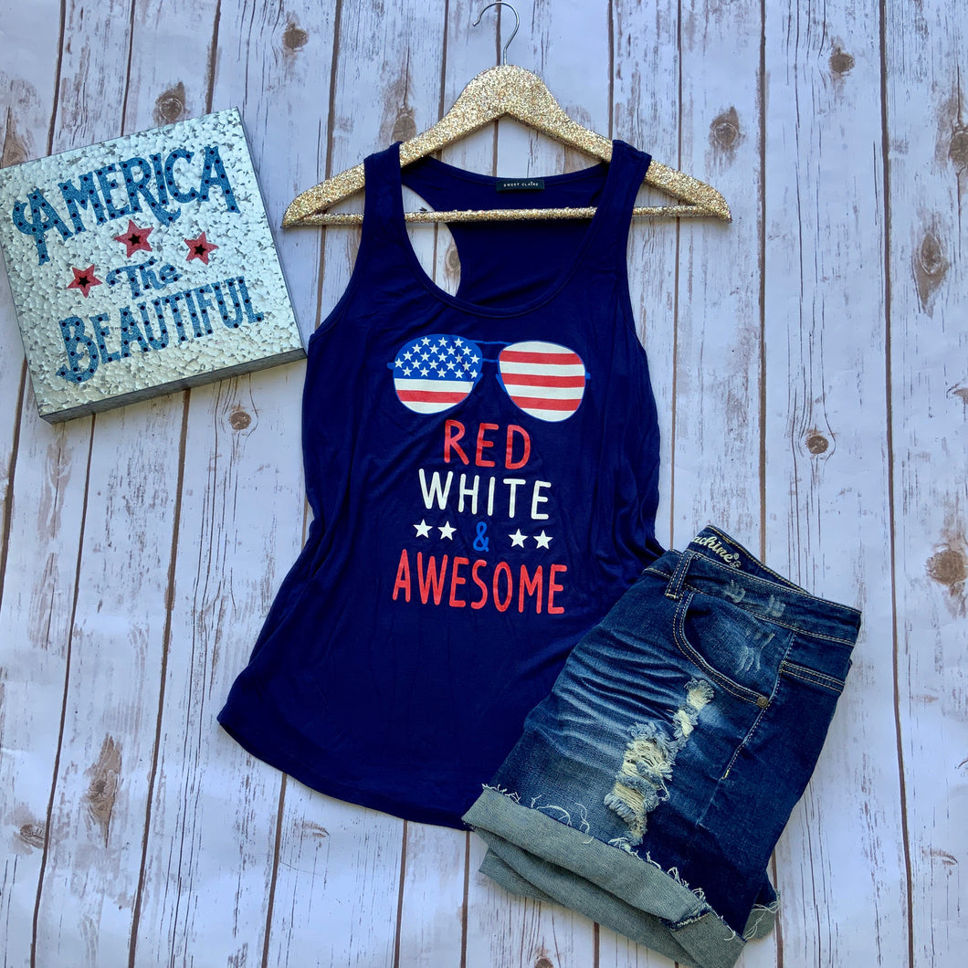 navy blue tank with american flag sunglass and red white & and awesome