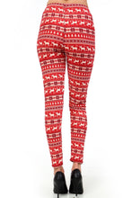 "back view of full- length one size- Women's 0-14 and plus size- women's 14-20 mix print fair isle christmas print leggings are so soft, stretchy, lightweight, and have a 1"" inch waistband. smooth fabric, 92% Nylon 8% spandex"