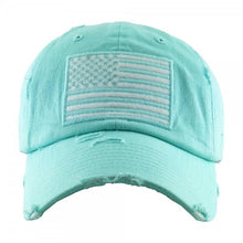 American Flag Embroidered Distressed Baseball Hat