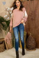 Blush and Sequin Drop Shoulder Sweater