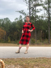 3/4 quarter sleeve past the knee midi black and red buffalo check plaid cinched and the small of your waist with pockets