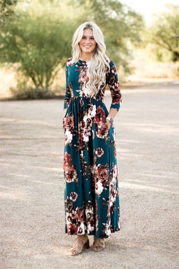 Teal Floral Long Sleeve Maxi