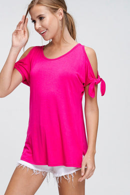hot pink cold shoulder shortsleeve top. shoulder ties at bottom