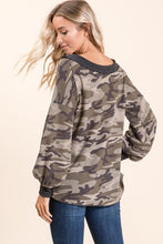 back view of slouchy V neck camo waffle fabric sweater with thick grey gray neck line and banded wrist sleeve contrast. good for on or off the shoulder