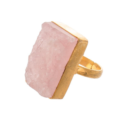Druzy Rose Quartz Statement Ring