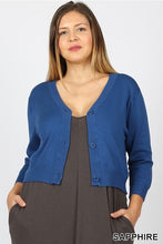 Plus size curvy Sapphire royal blue cropped bolero cardigan with buttons. Perfect for church or over a maxi dress. Ultra high quality