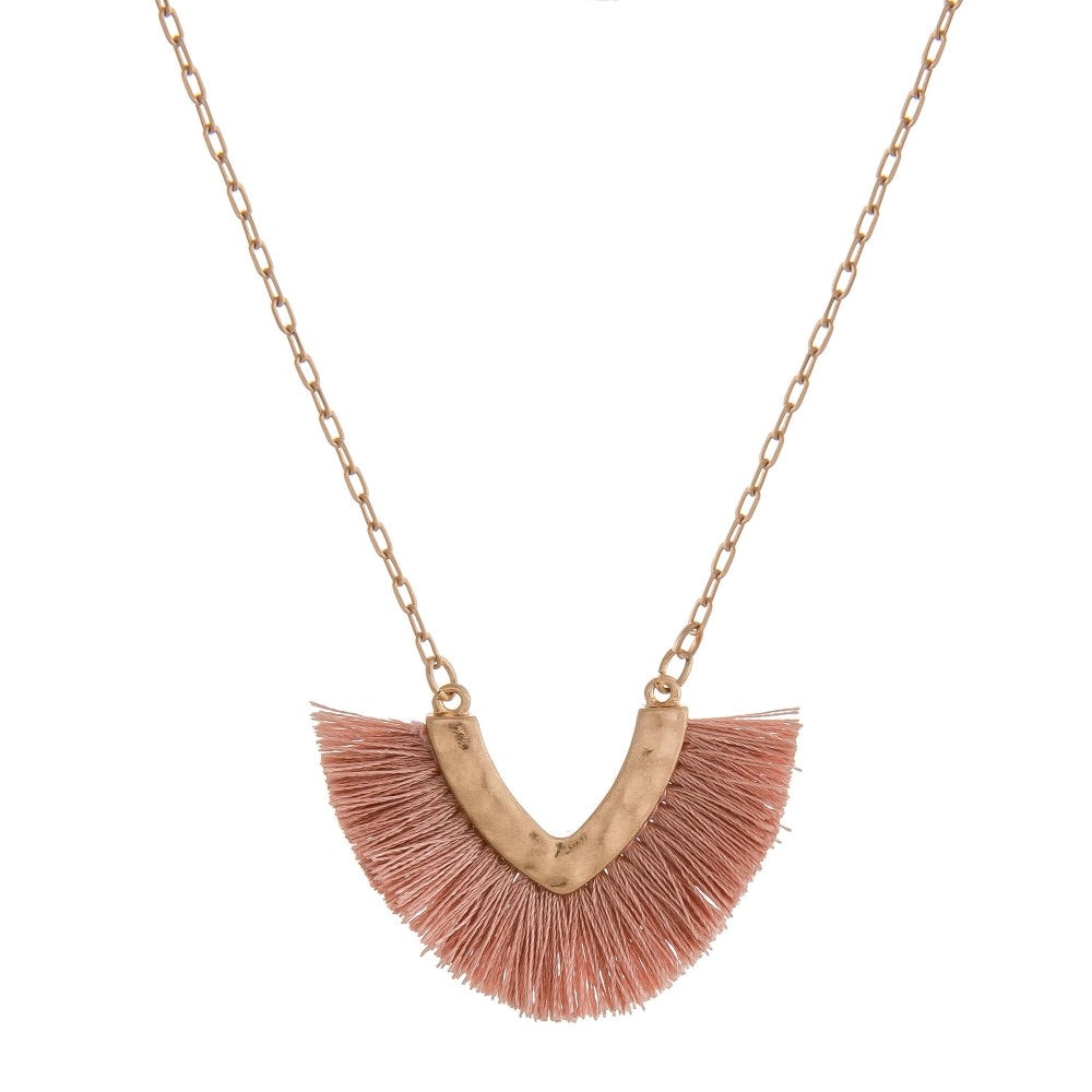 Fringe tassel v pendant necklace
