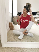 casual cute in Red varsity short sleeve be mine t-shirt with be mine in white contrast on front middle of tee. Red and white contrast