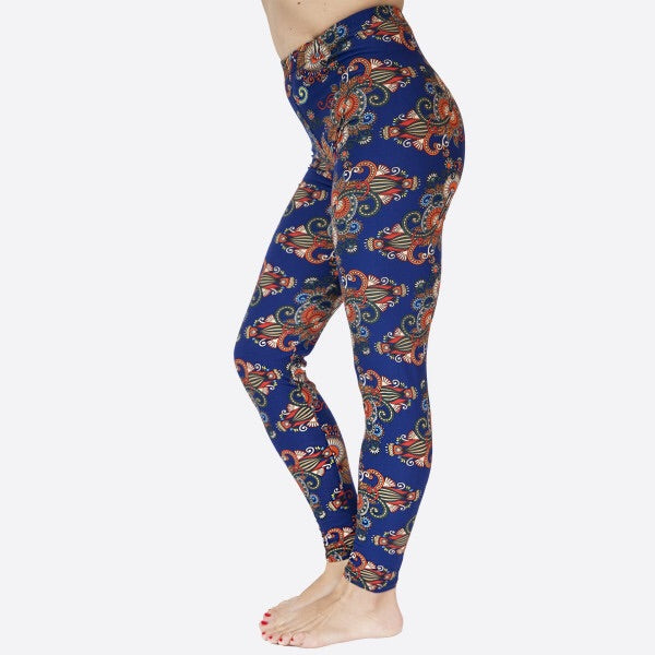 full- length one size- Women's 0-14 and plus size- women's 14-20 mix print royal blue contrast leggings are so soft, stretchy, lightweight, and have a 1