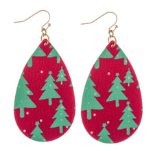 Faux Leather Christmas Pattern Earrings
