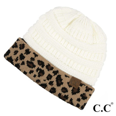 Solid C.C. Beanie with Leopard Cuff