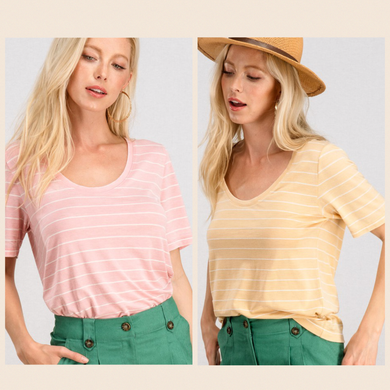 Favorite Striped Scoop Neck Short Sleeve Tee