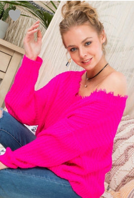 Hot Pink Frayed Multi-way Sweater