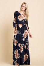 navy and blush floral print long sleeve long maxi dress with cinched waist and pockets
