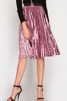 rose pink velvet pleated high waisted and knee length skirt with an elastic waistband
