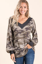 Slouchy Multiway Camo Waffle Sweater