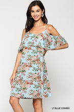 Light Blue with Classic floral look dress, spaghetti straps with a flutter top and cold shoulder with adorable trim. the dress falls a few inches above the knee.  Adjustable straps