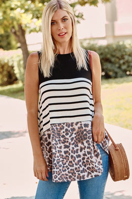 Navy, Stripe & Leopard Block Sleeveless Tank