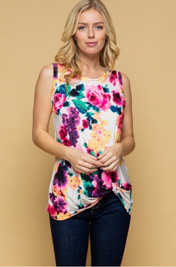 Watercolor Floral Twist Hem Top