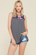 Navy Floral and Stripe Sleeveless Tank