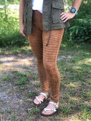 camel faux suede moto jeggings with real back pockets and adorable silver zipper accent on front pocket area. jeggings have an elastic waistband and are so soft and comfortable