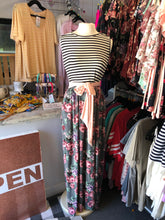 Sleeveless Strip and Floral Maxi with Tie