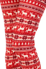 "up close view of full- length one size- Women's 0-14 and plus size- women's 14-20 mix print fair isle christmas print leggings are so soft, stretchy, lightweight, and have a 1"" inch waistband. smooth fabric, 92% Nylon 8% spandex"
